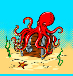 octopus guards treasure chest pop art vector image