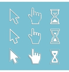 Pixel cursors and outline icons vector image