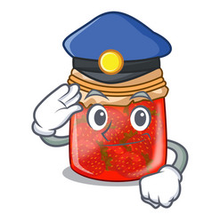 Police character homemade strawberry marmalade in vector