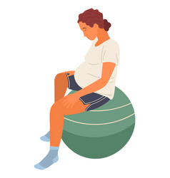 Pregnant woman sits on fitness ball with head vector