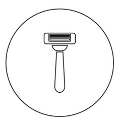 razor icon black color in circle vector image