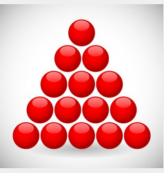 Red spheres in triangular formation vector