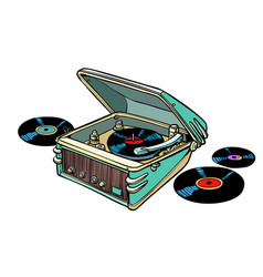 retro vinyl player isolated on white background vector image