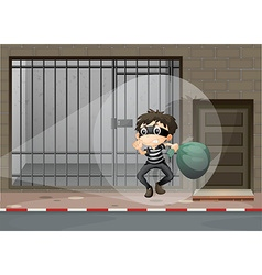 Robber escaping out of the prison vector