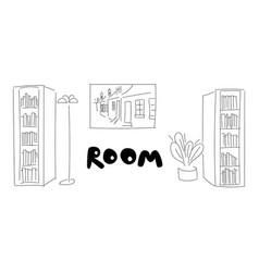 room contour pencil sketch vector image