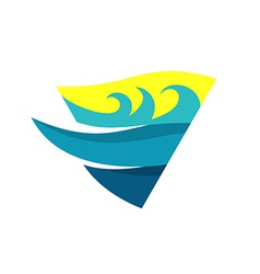 Sea waves and deep logo template triangle flag vector