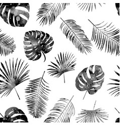 seamless hand drawn pattern with black palm leaves vector image