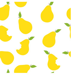 Seamless pattern of yellow pears vector