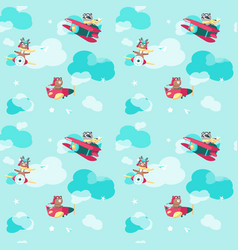 seamless pattern with cute pilot animals vector image