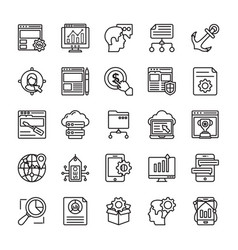 seo and web optimization line icons 1 vector image