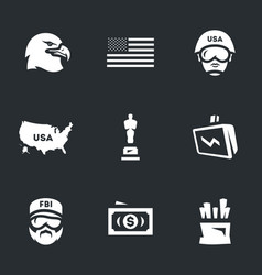 set of america icons vector image