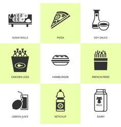 Set of black grocery and food icons vector image