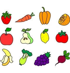Set of fruits and vegetables vector image