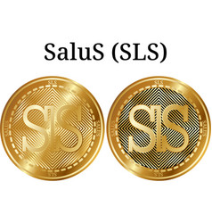 Set of physical golden coin salus sls vector