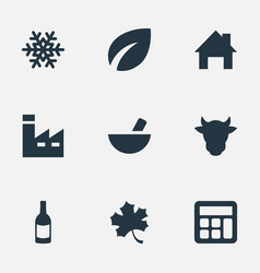 set of simple agricultural icons elements vector image