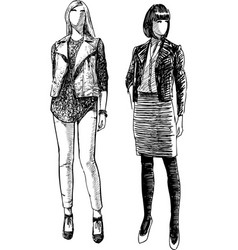 Sketches young fashionable girls vector