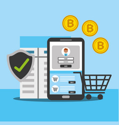 Smartphone online shopping bitcoin security vector