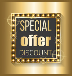 special offer discount in square frame on golden vector image