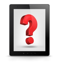 Tablet PC with question mark vector image