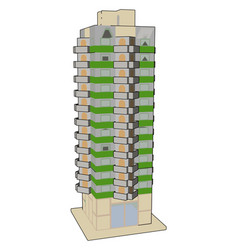 tall green building on white background vector image