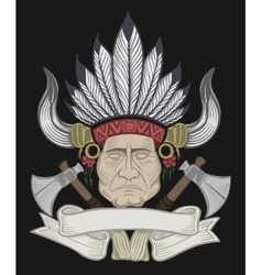 The Indian chief with a tomahawk vector image