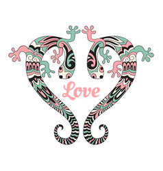 Valentines card with love lizards vector