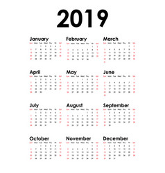vertical calendar for 2019 year isolated white vector image