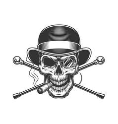 Vintage gentleman skull smoking cigar vector