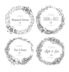 Vintage wreaths collection trendy cute vector