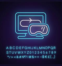 vr games neon light icon vector image