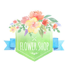 Watercolor floral label with banner vector