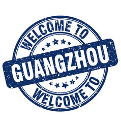 Welcome to guangzhou blue round vintage stamp vector