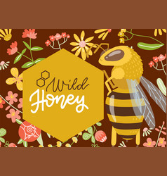 wild flower honey label or banner with flower vector image