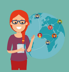young woman student with world community vector image