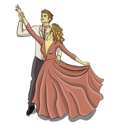a guy in a tuxedo and a girl in a puffy pink dress vector image