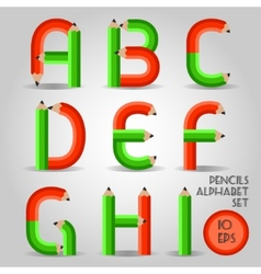 Alphabet in wooden pencil style red and green vector image