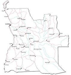 Angola Black White Map vector image vector image