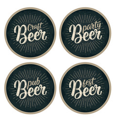 craft beer lettering with rays advertising design vector image vector image