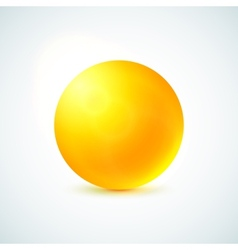 Yellow glossy sphere isolated on white vector image vector image