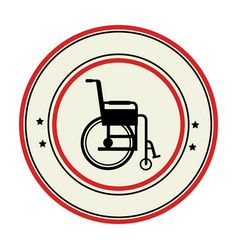 color circular emblem with wheelchair vector image vector image