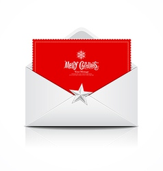 Envelope and red card merry christmas vector image vector image