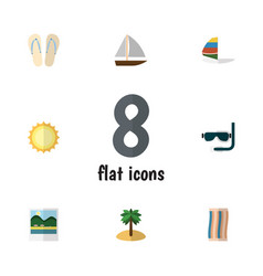 Flat icon beach set of surfing reminders vector