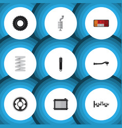 flat icon component set of wheel silencer input vector image