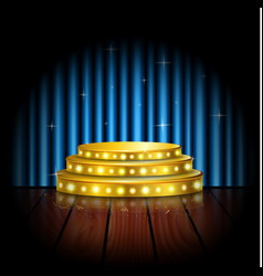 spotlight golden of empty stage with blue curtain vector image vector image