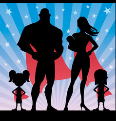 superhero family with 2 girls and baby vector image vector image
