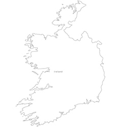 Black White Ireland Outline Map vector image vector image