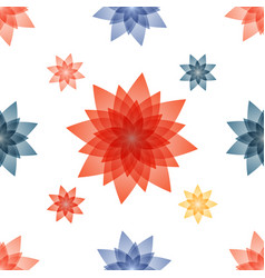 decoupage with red blue flowers vector image