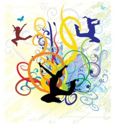 girls dancing on color backgro vector image vector image
