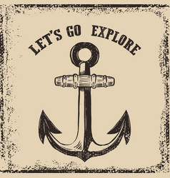 hand drawn anchor on grunge background design vector image vector image