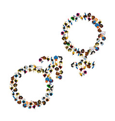 many people male and female symbol set vector image vector image